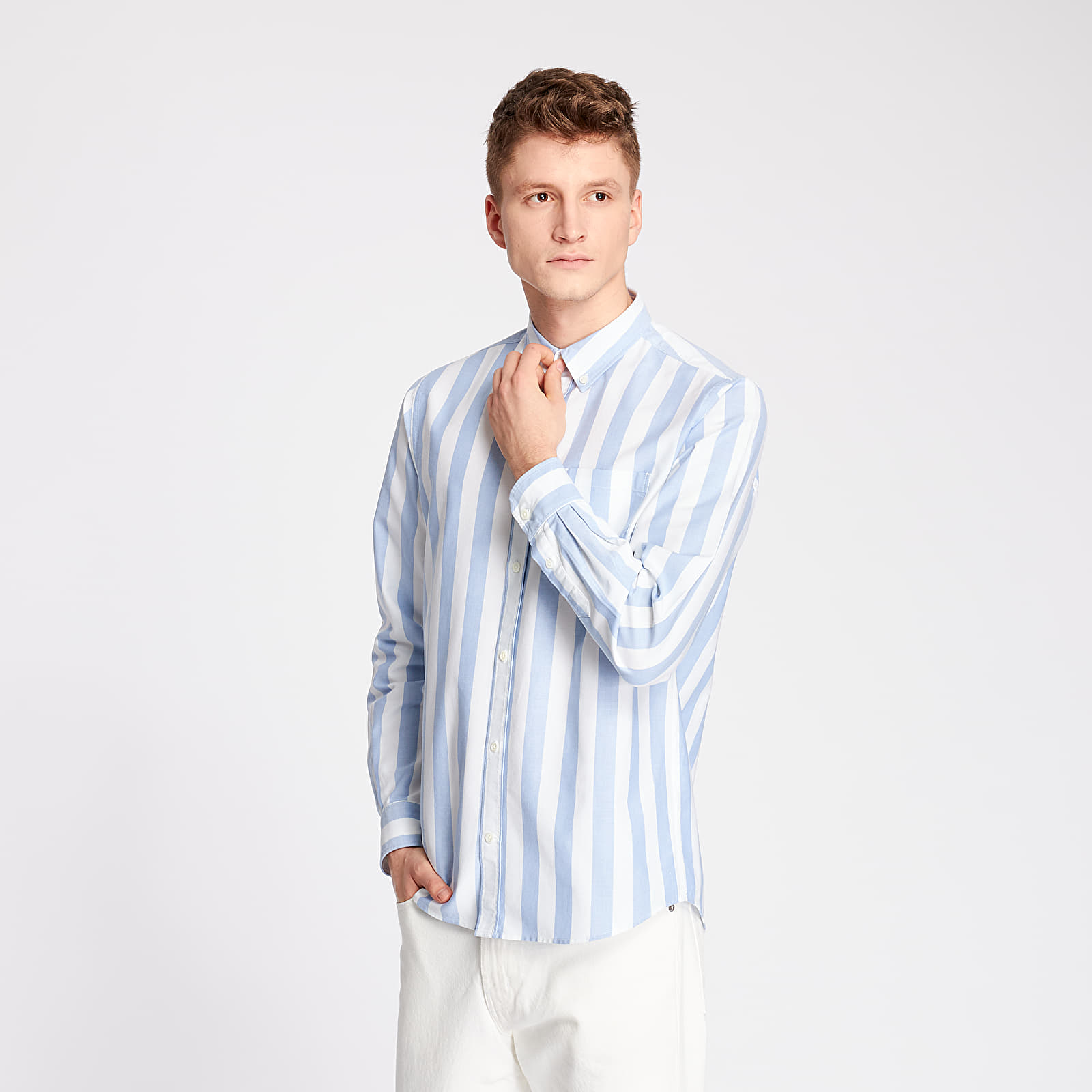 Shirts Norse Projects Anton Oxford Shirt Pale Blue Wide Stripe