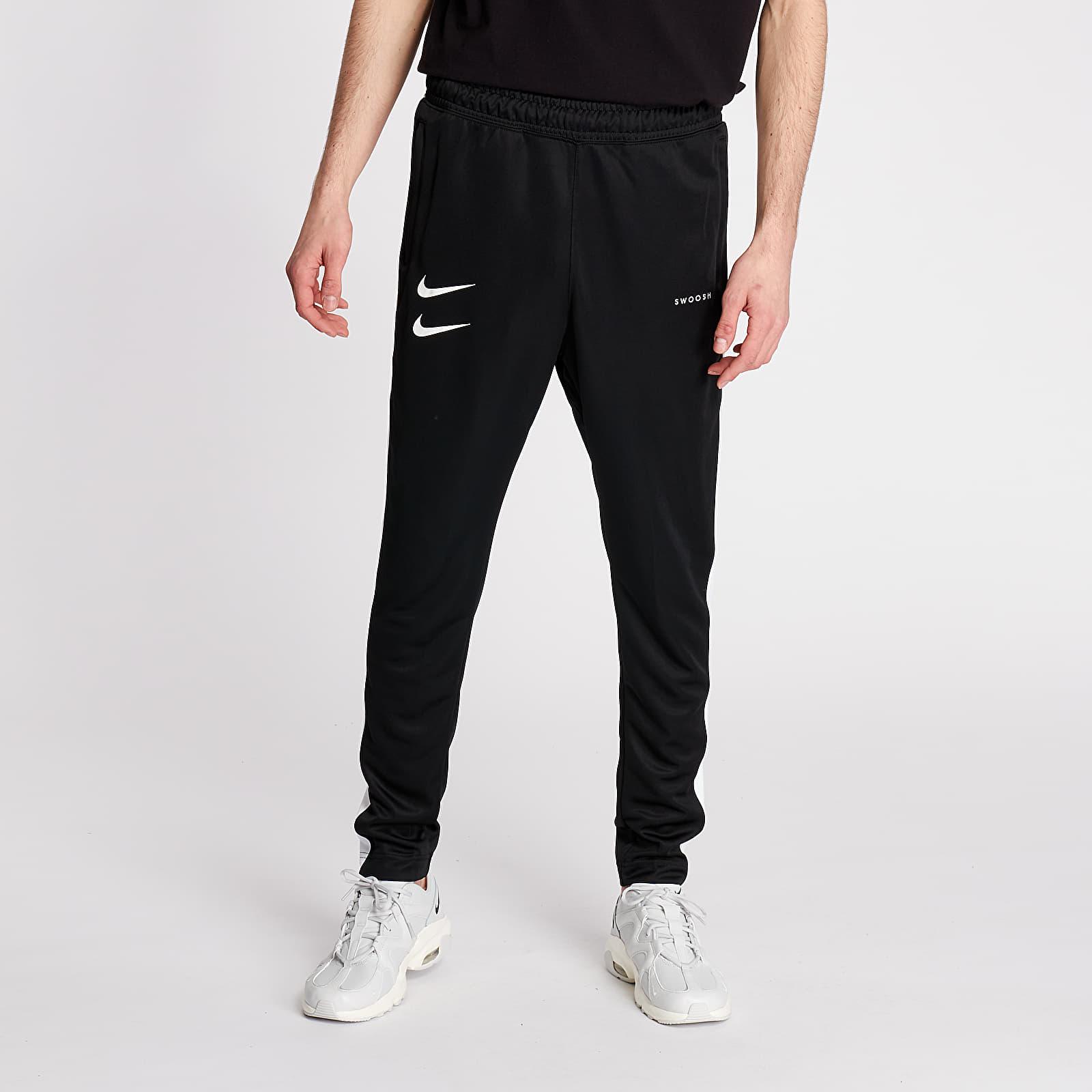 Džíny a kalhoty Nike Sportswear Swoosh PK Pants Black/ White/ Black/ White