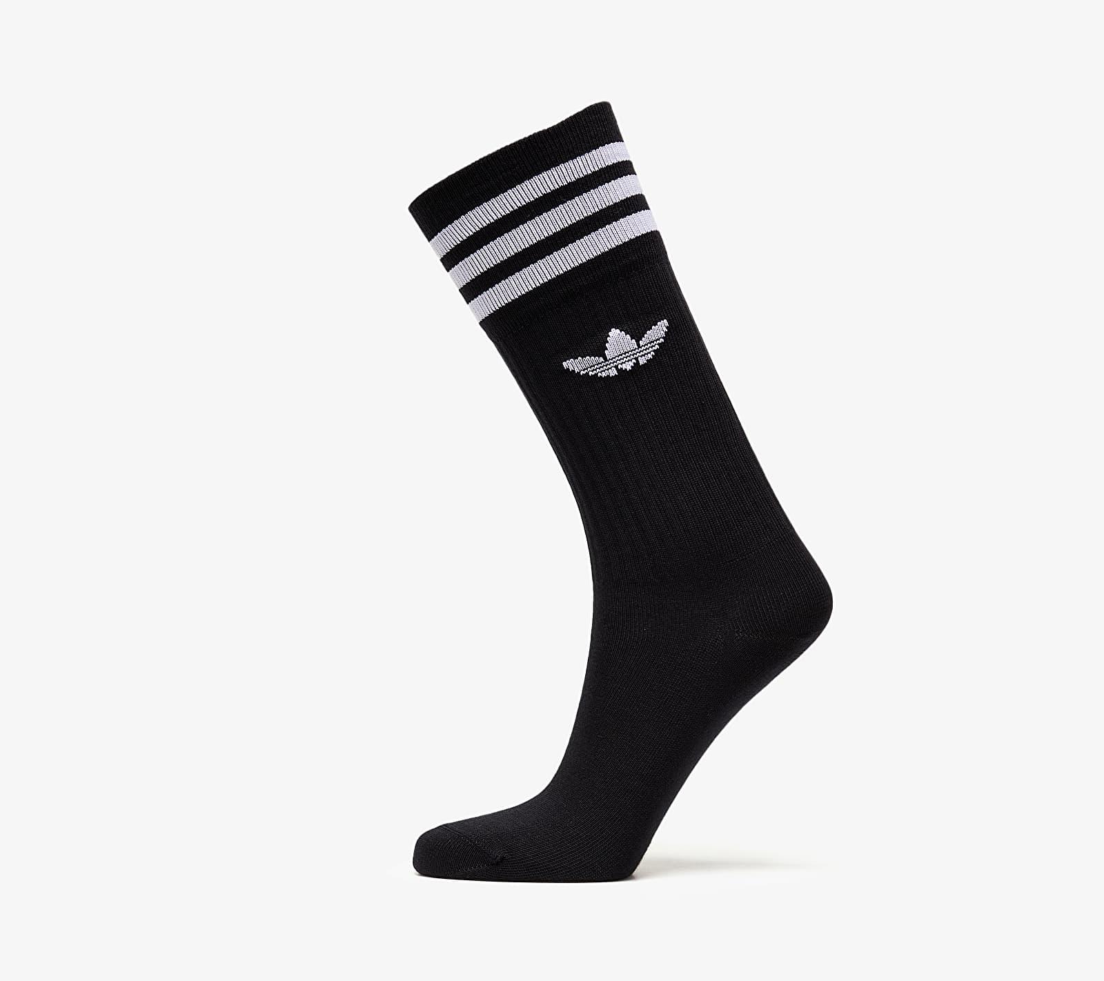 adidas Solid Crew Sock 3 Pack Black/ White EUR 39-42