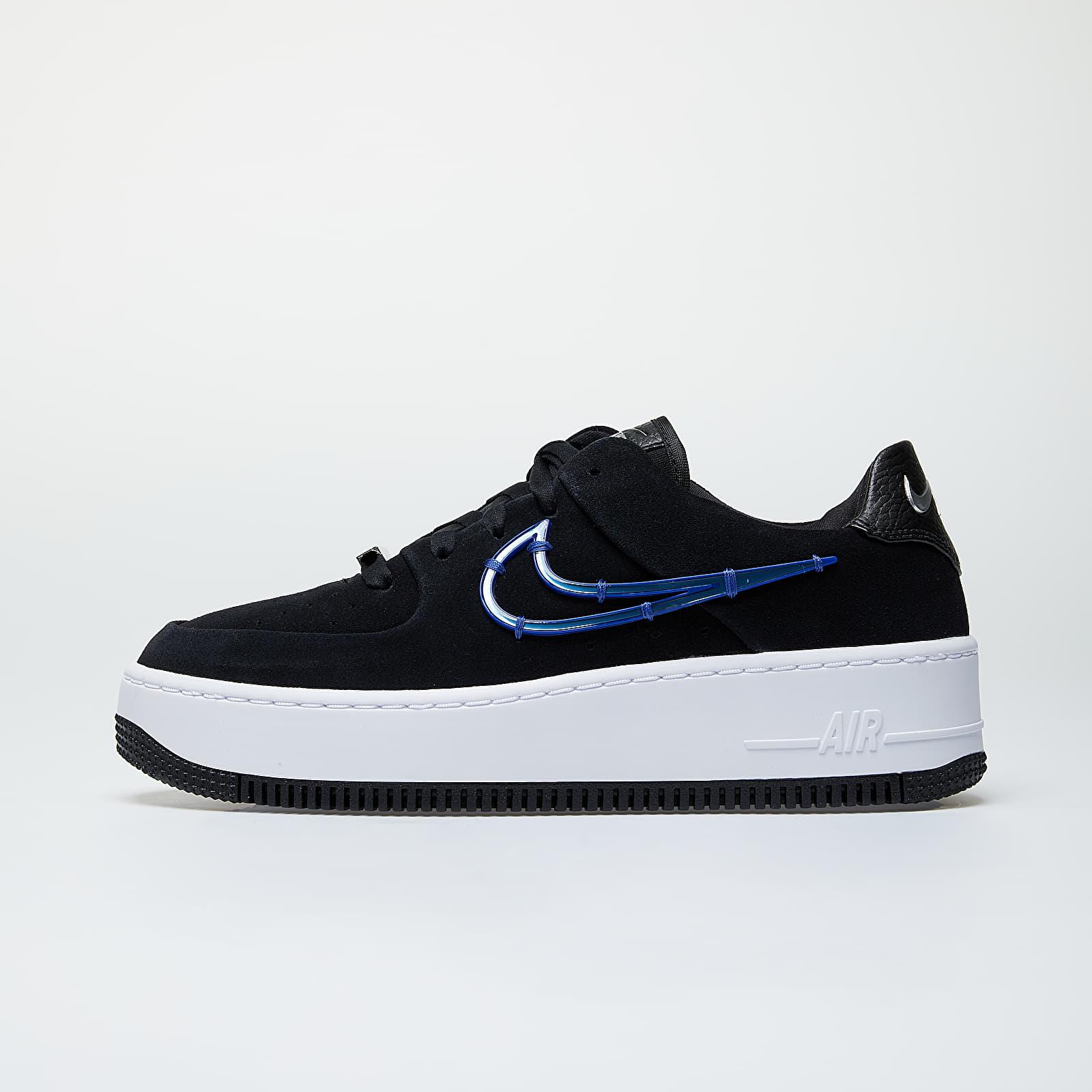 Women's shoes Nike W Air Force 1 Sage Low LX Black/ Deep Royal Blue-Metallic Silver