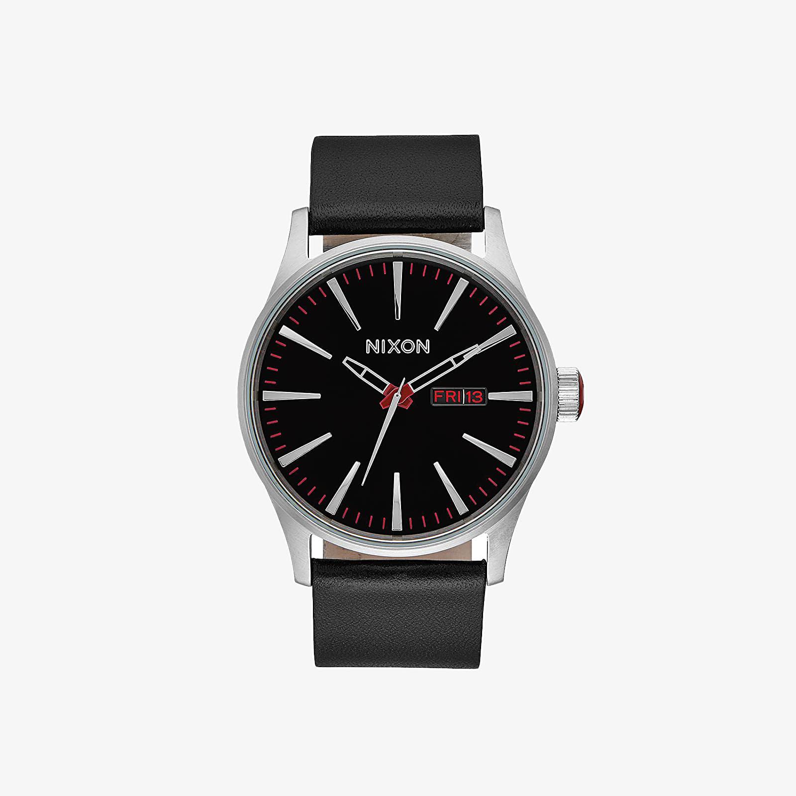 Watches Nixon Sentry Leather Watch Black