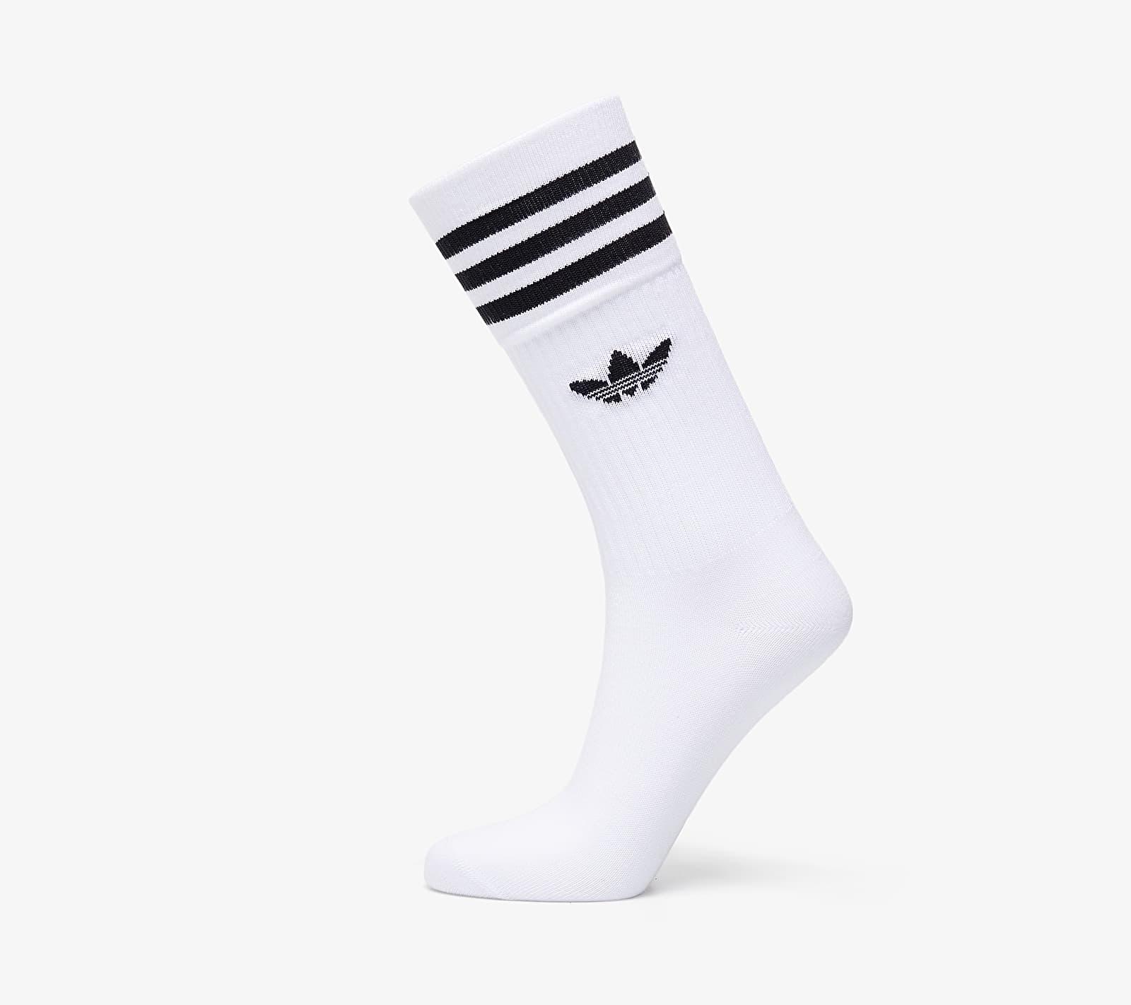 adidas Solid Crew Sock 3-Pack White/ Black EUR 43-46