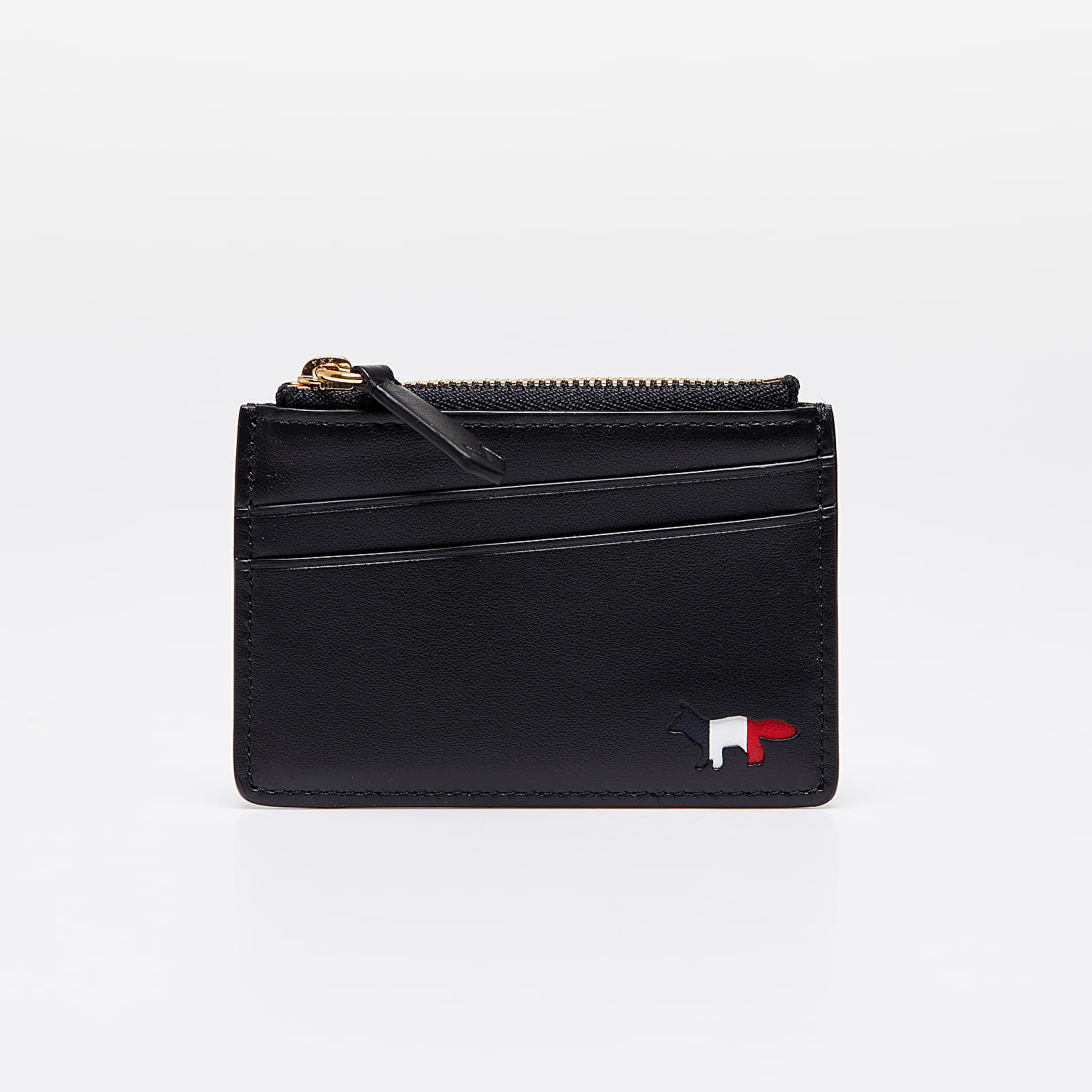 MAISON KITSUNÉ Tricolor ZIipped Leather Card Holder