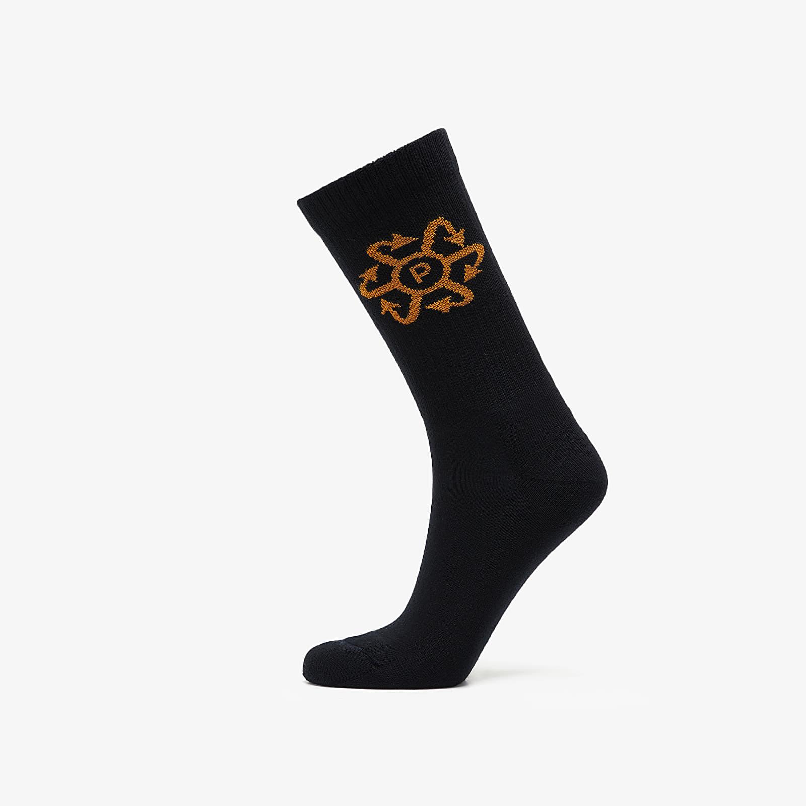 Chaussettes PACCBET Two Tone Jaquard Socks Black/ Tan