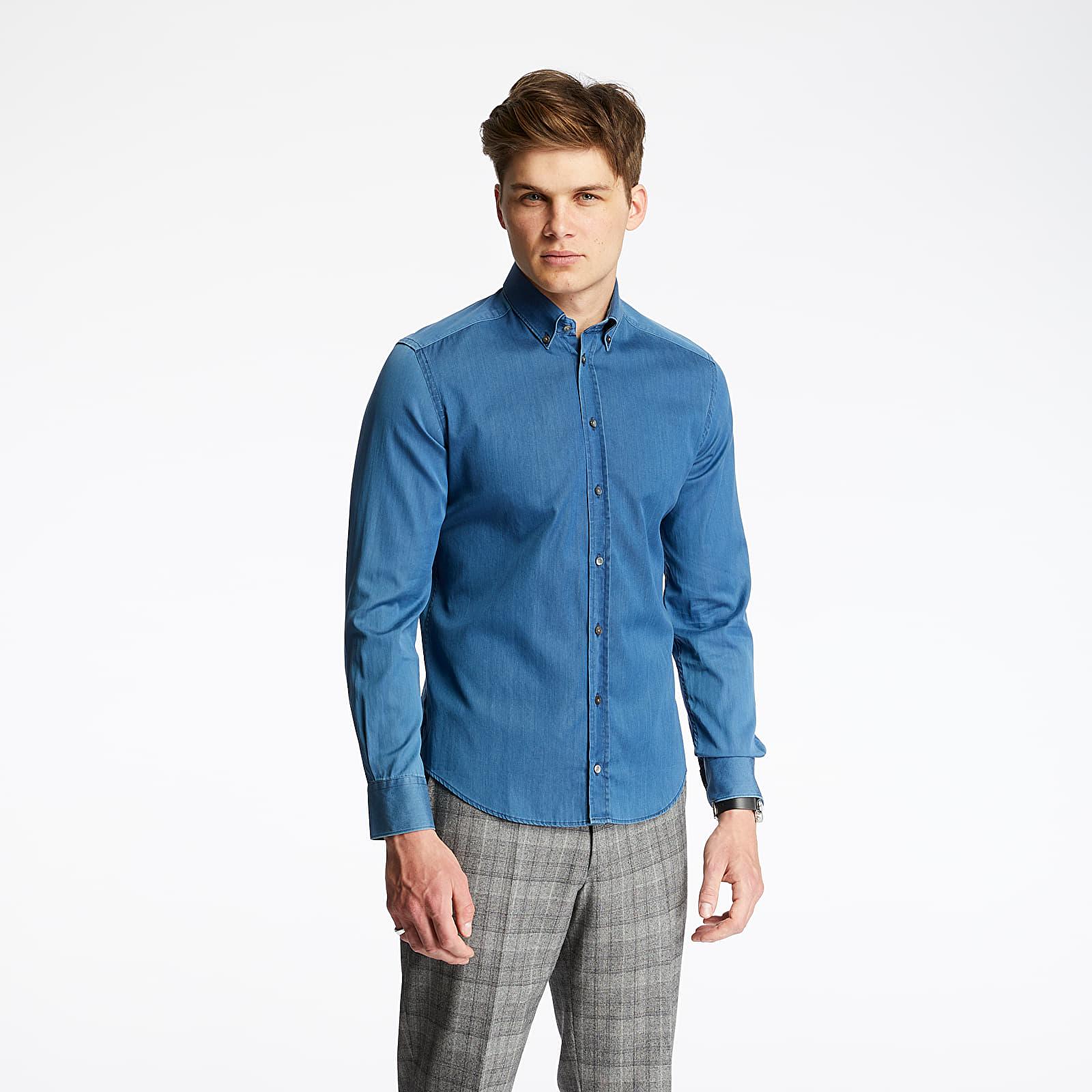 Košile Pietro Filipi Men's Denim Shirt Blue