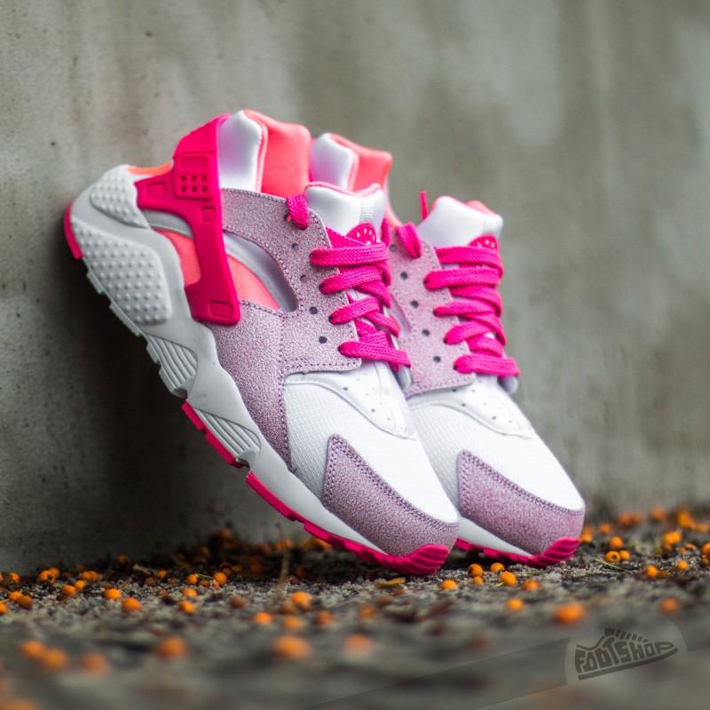 Nike Huarache Run (GS) White/ Pink Pow-Lava Glow   Footshop