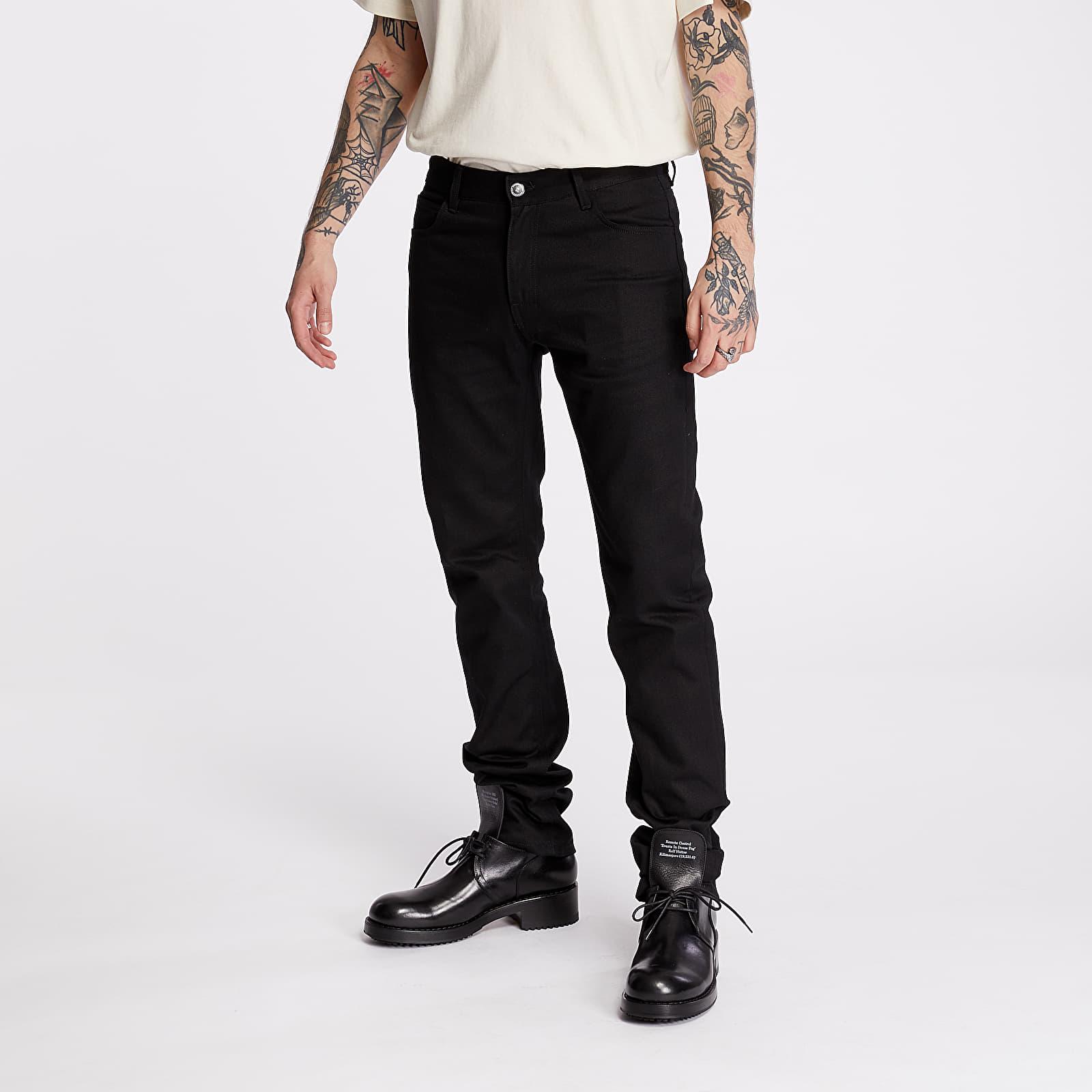 Džíny a kalhoty RAF SIMONS Slim Fit Suspender Denim Pants Black