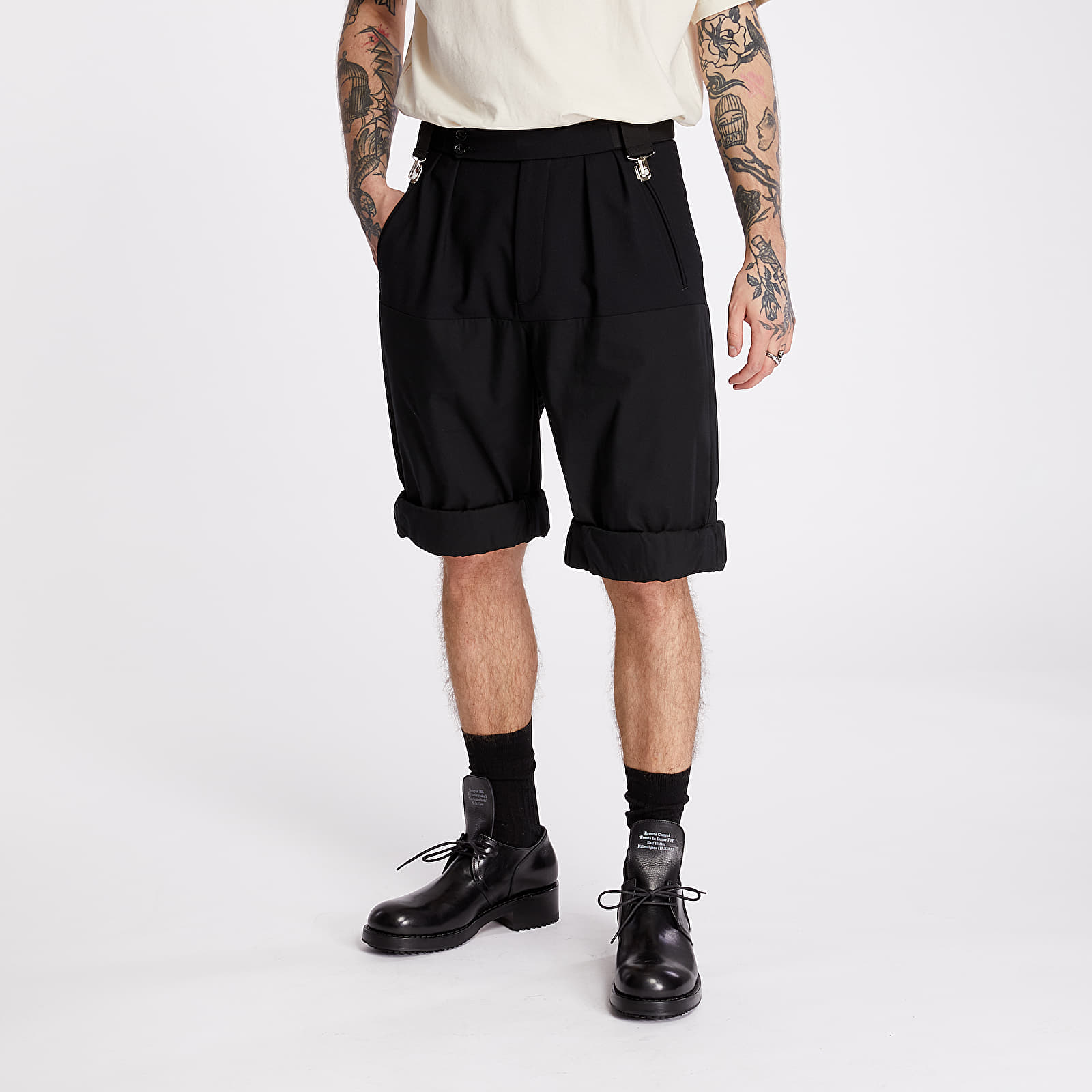 Pantaloncini RAF SIMONS Wide Rolled Up Shorts Black