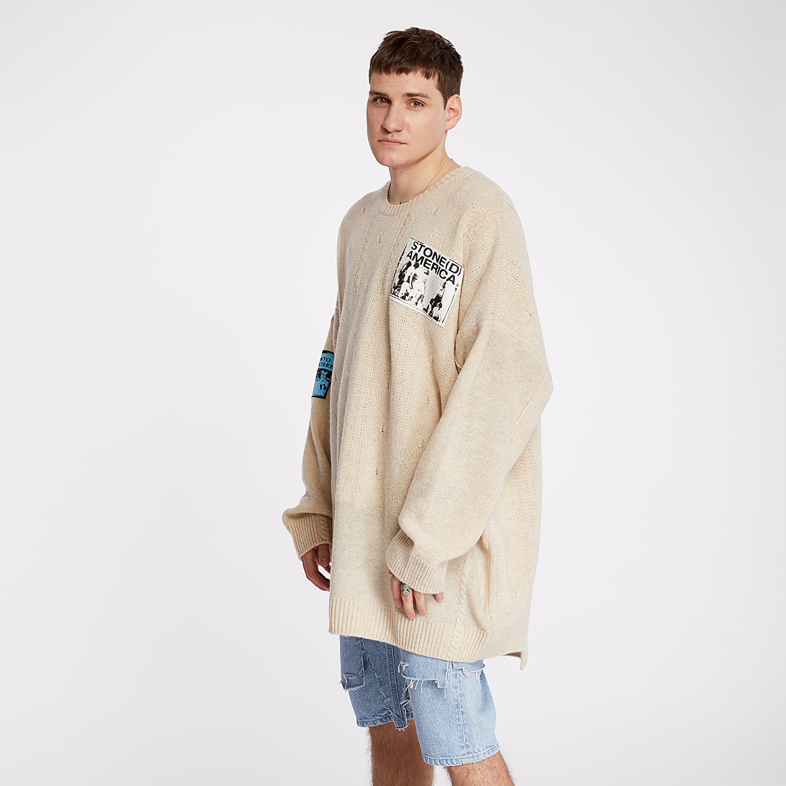 Mikiny a svetry RAF SIMONS Oversized Roundneck Sweater With Patches