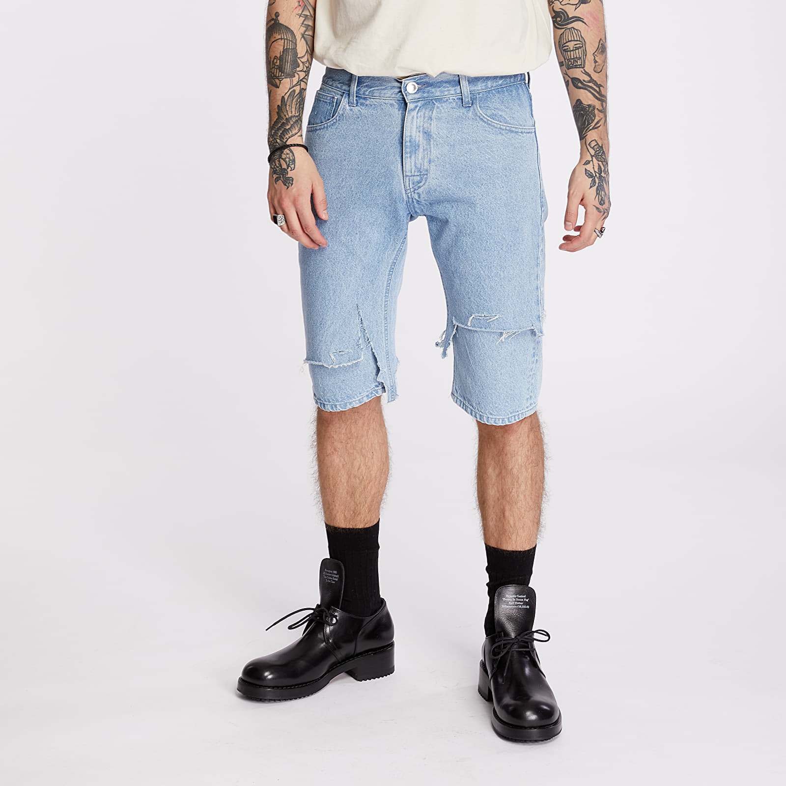 Šortky RAF SIMONS Slim Fit Destroyed Denim Shorts Blue