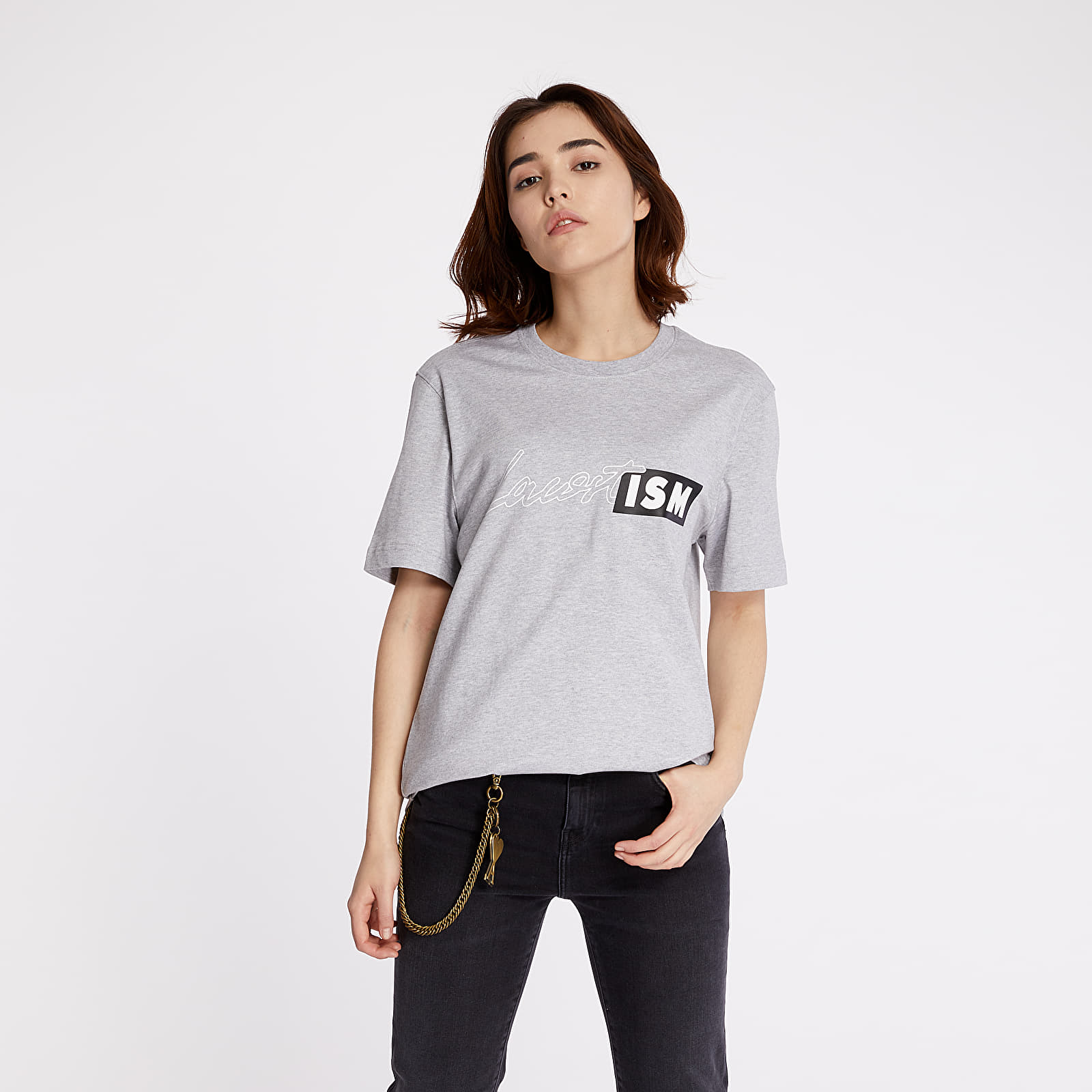 T-shirts LACOSTE LIVE Lacostism Print Tee Grey