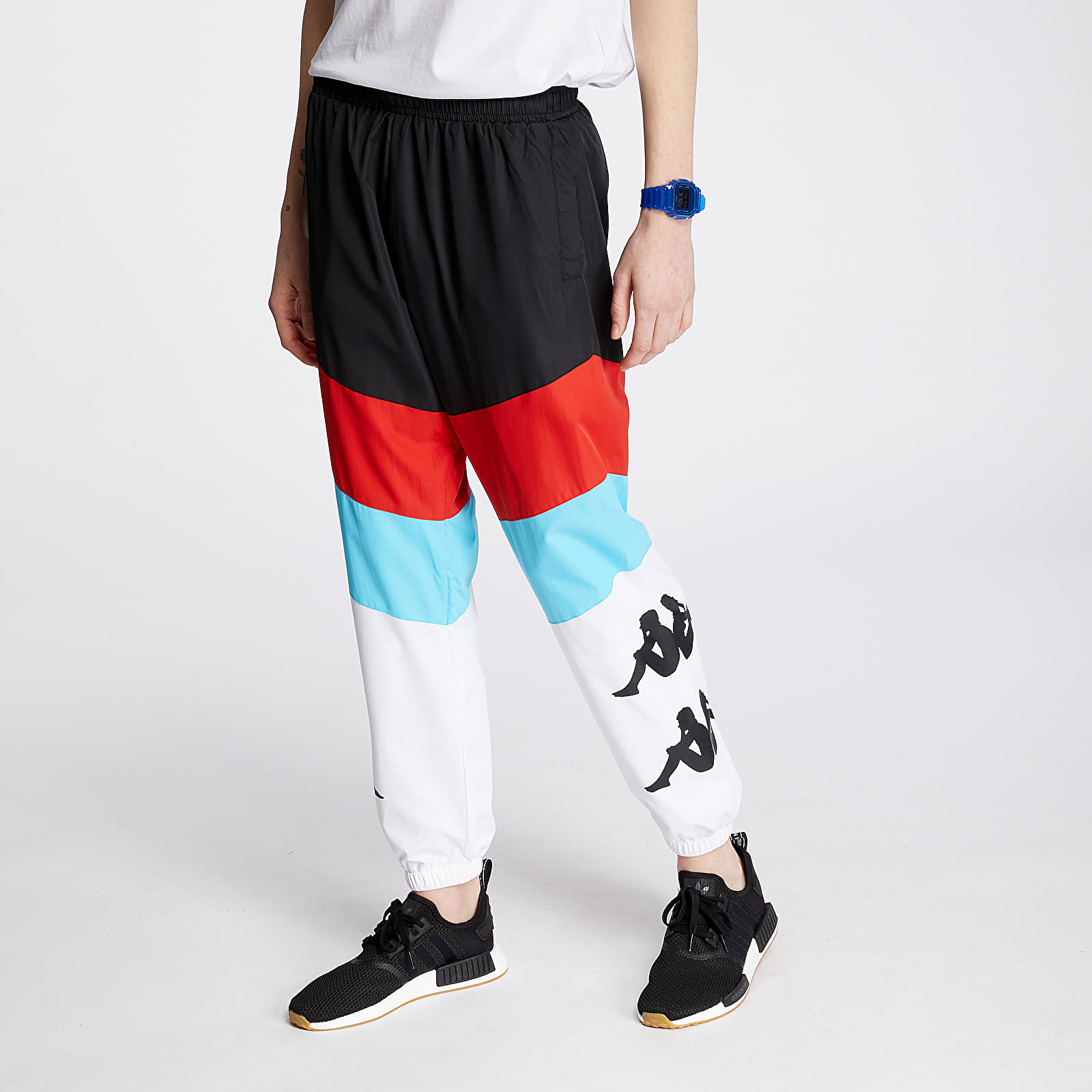 Džíny a kalhoty Kappa Authentic Race Clovy Pants Black/ Red/ Turq/ White