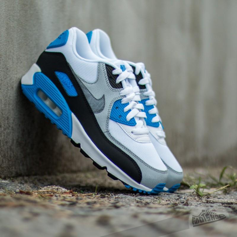 Nike Air Max 90 Mesh (GS) White Cool Grey Photo Blue Black | Footshop