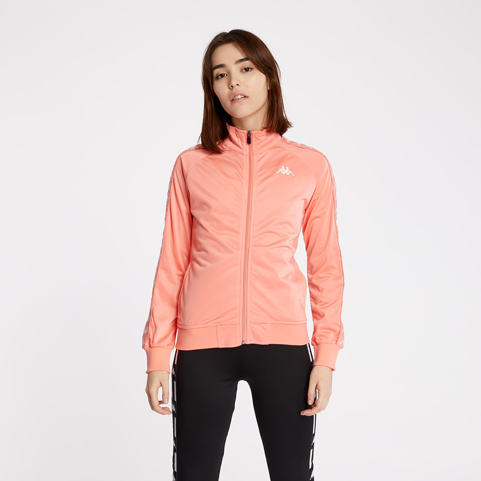 Mikiny a svetry Kappa 222 Banda Wanniston Slim Track Jacket Pink/ White