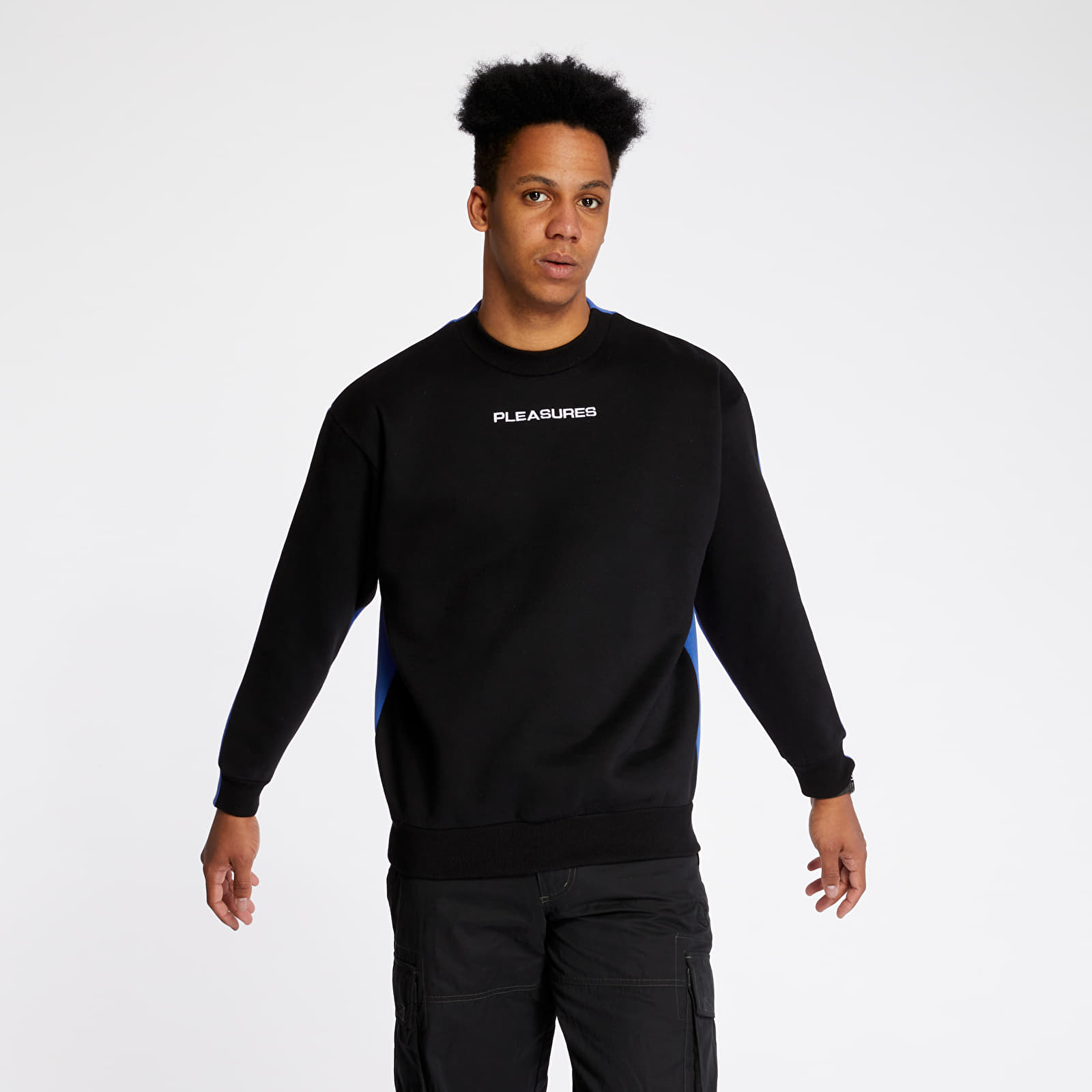 Mikiny a svetry PLEASURES Experience Blocked Crewneck Black/ Blue