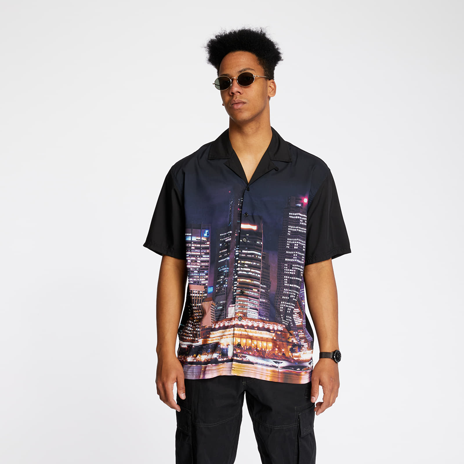 Košile PLEASURES Metro Button Down Shirt Black