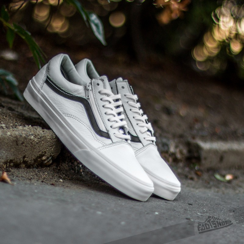 Vans Old Skool Zip Premium Leather True White  9e1890cad485
