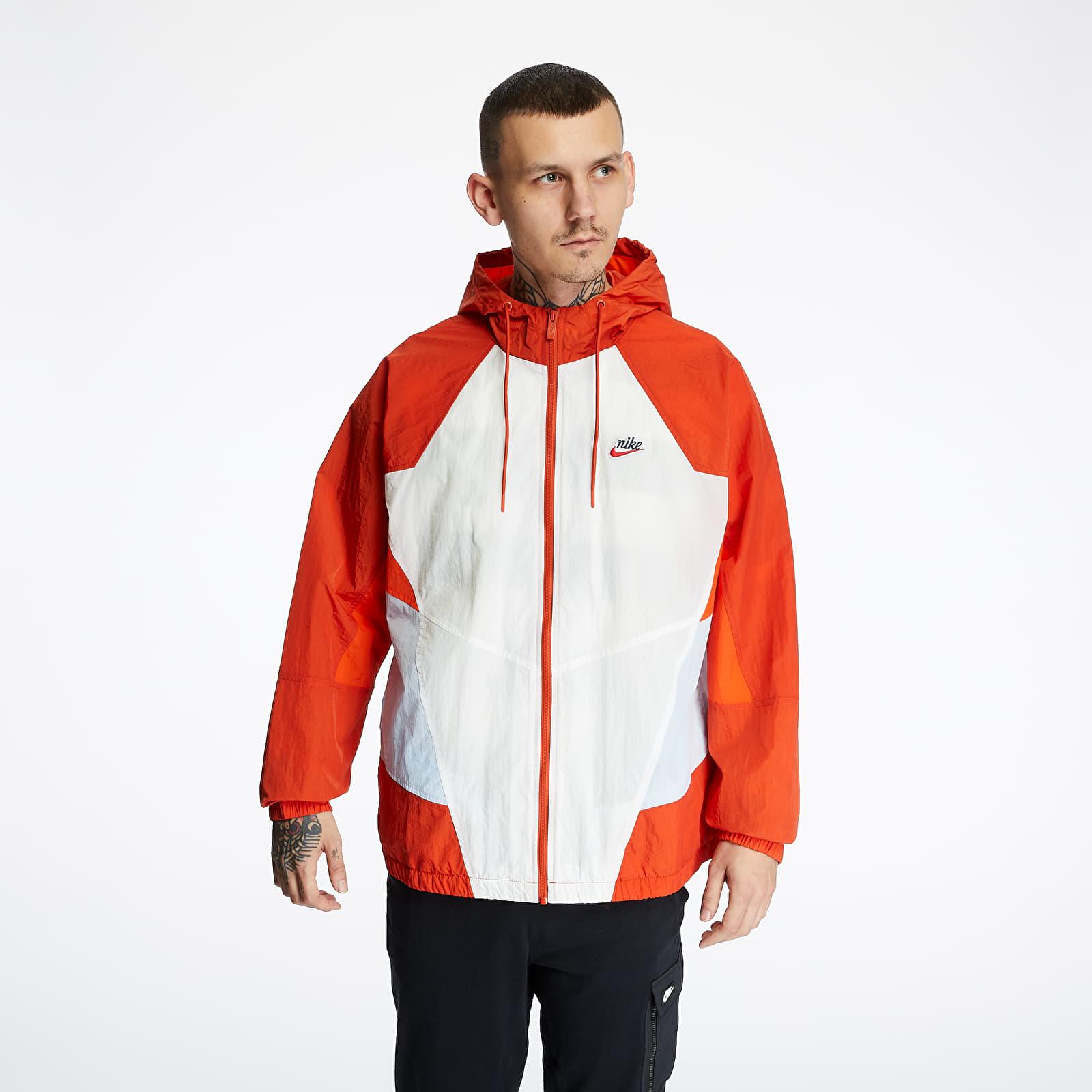 Větrovky Nike Sportswear Heritage Woven Signature Jacket Sail/ Rust Factor/ Hydrogen Blue