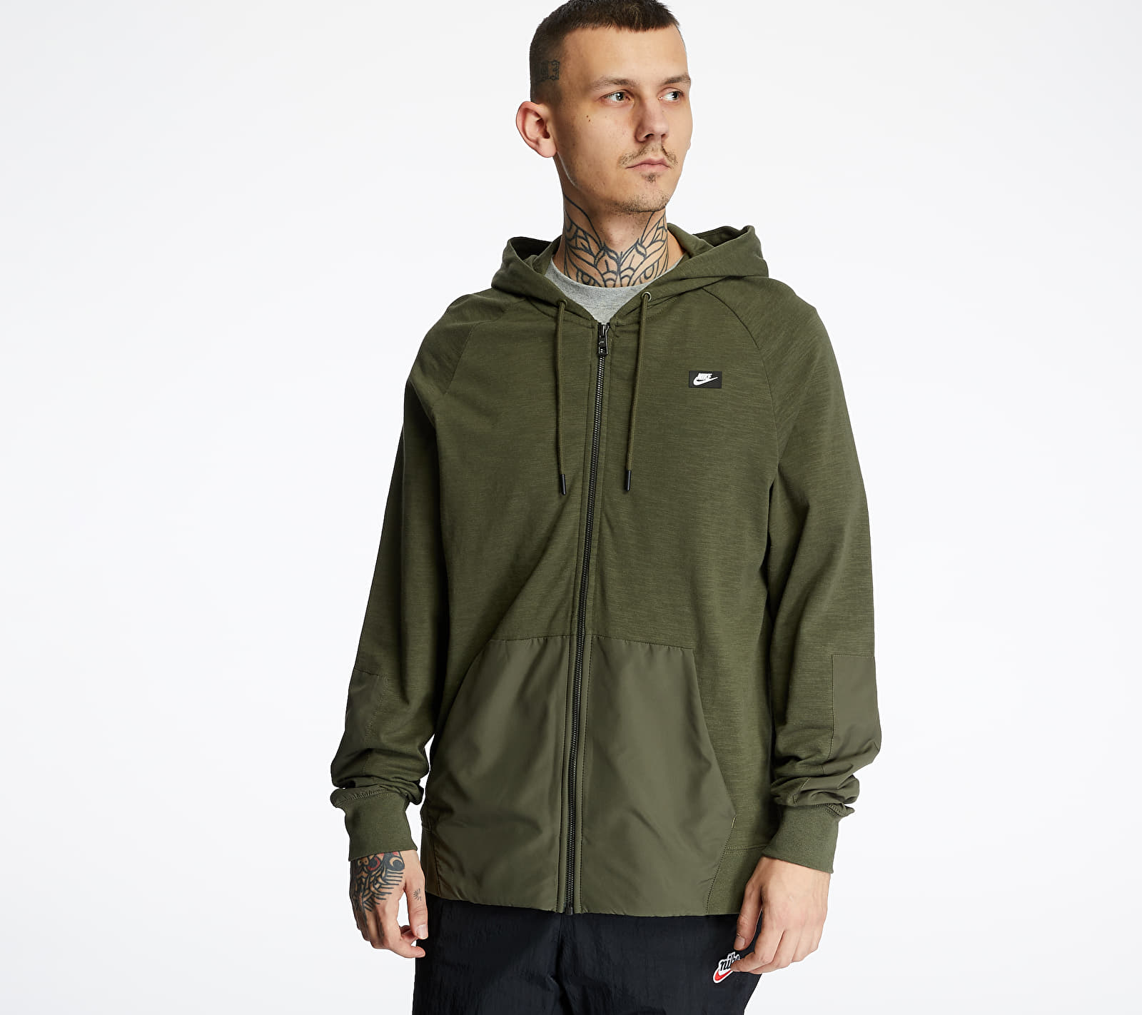 Nike Sportswear Me LTWT Mix Hoodie Cargo Khaki/ Cargo Khaki/ Black Oxidized, Green