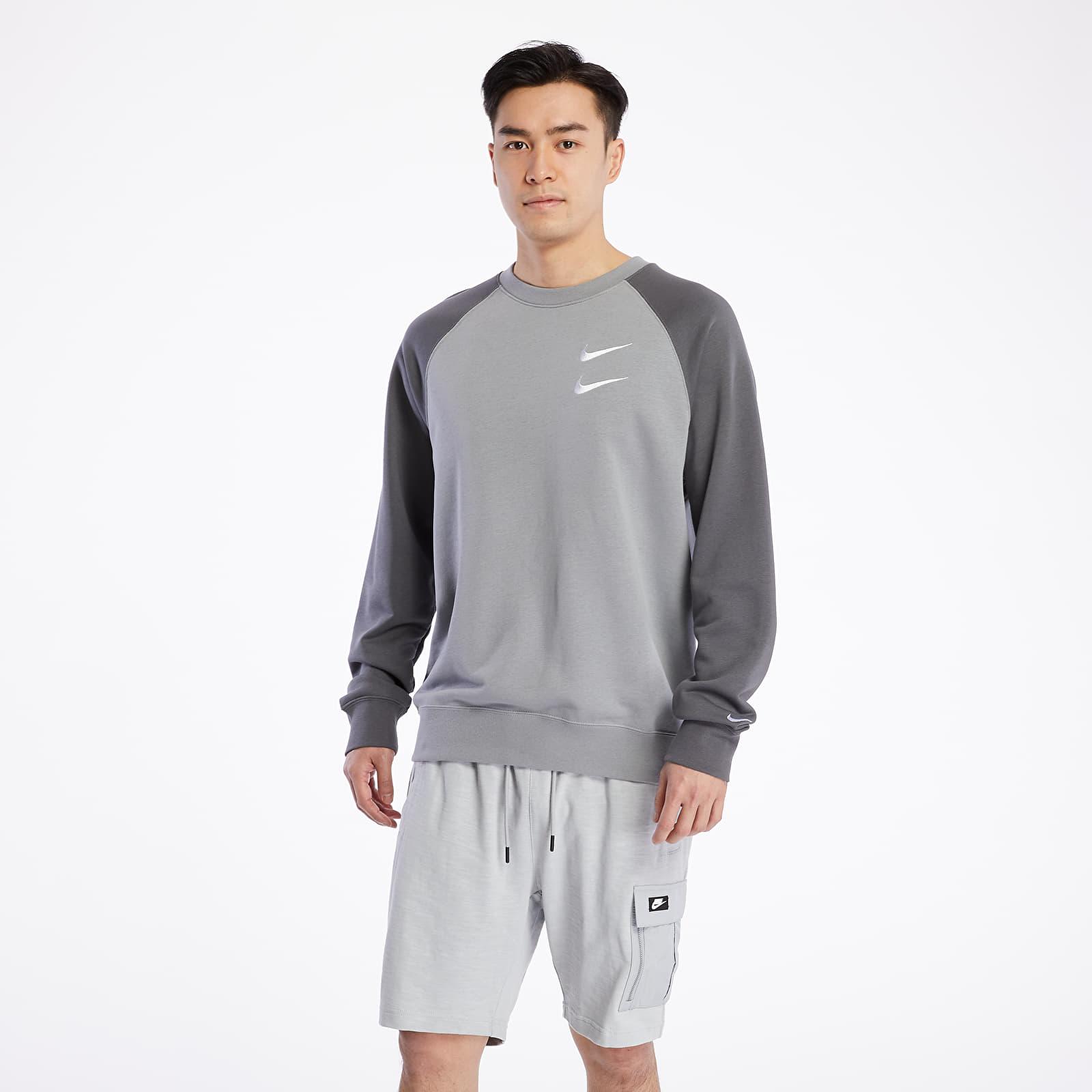 Mikiny a svetry Nike Sportswear Swoosh Ft Crewneck Particle Grey/ Iron Grey/ White