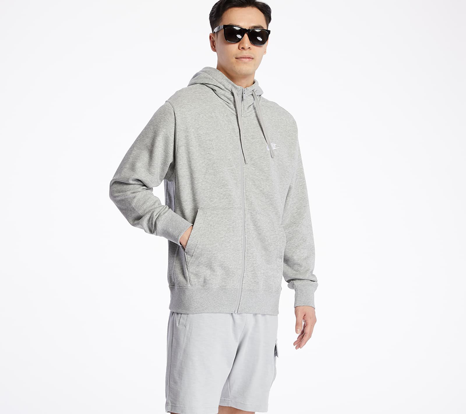 Nike Sportswear Club Hoodie Dk Grey Heather/ Matte Silver/ White, Gray