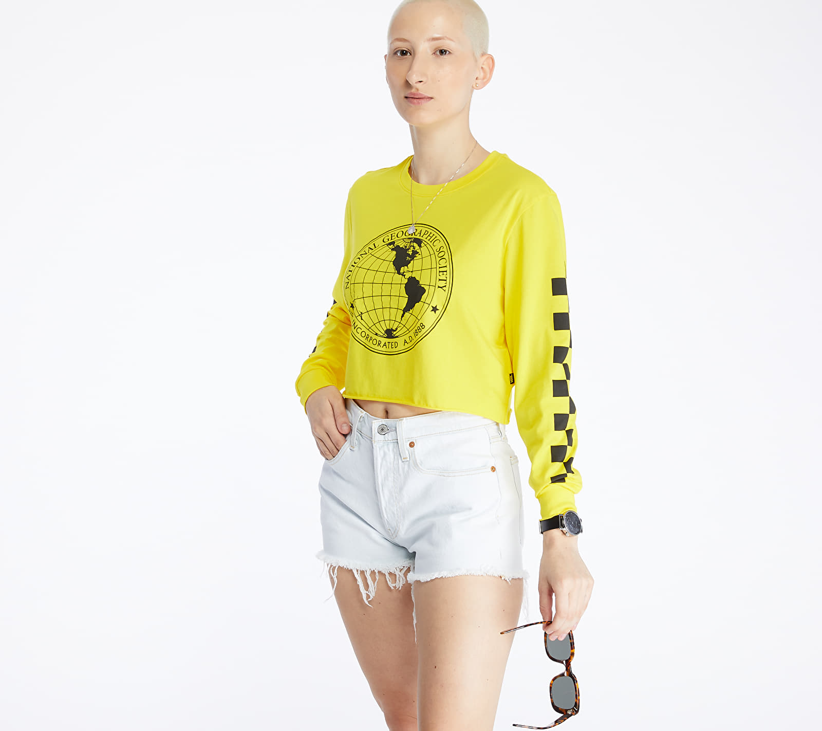 Vans x National Geographic Longsleeve Cropped Tee Cyber Yellow