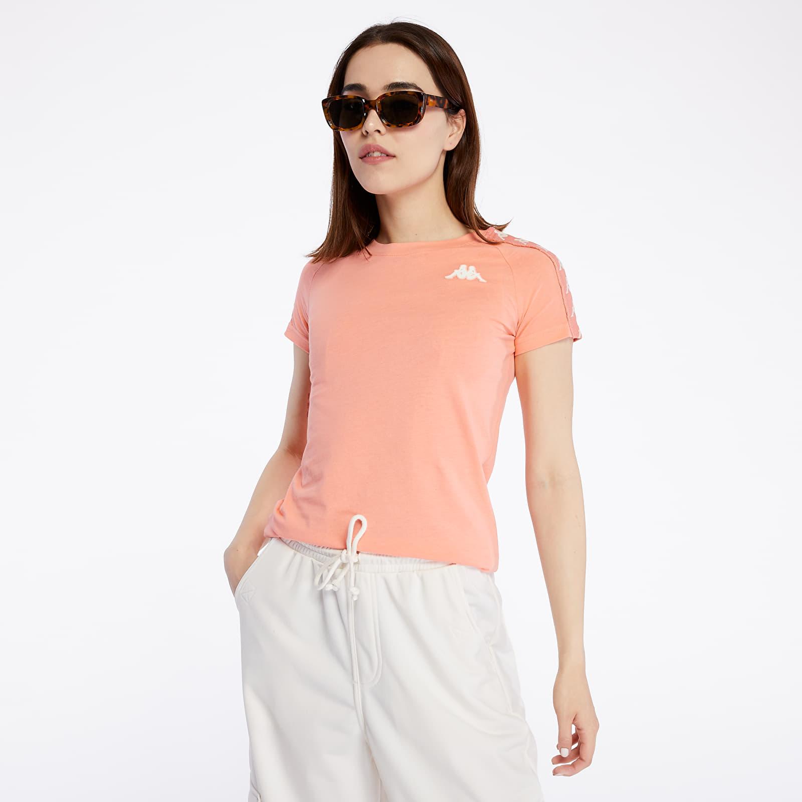 T-shirts Kappa 222 Banda Woen Tee Pink Peach/ White Antique