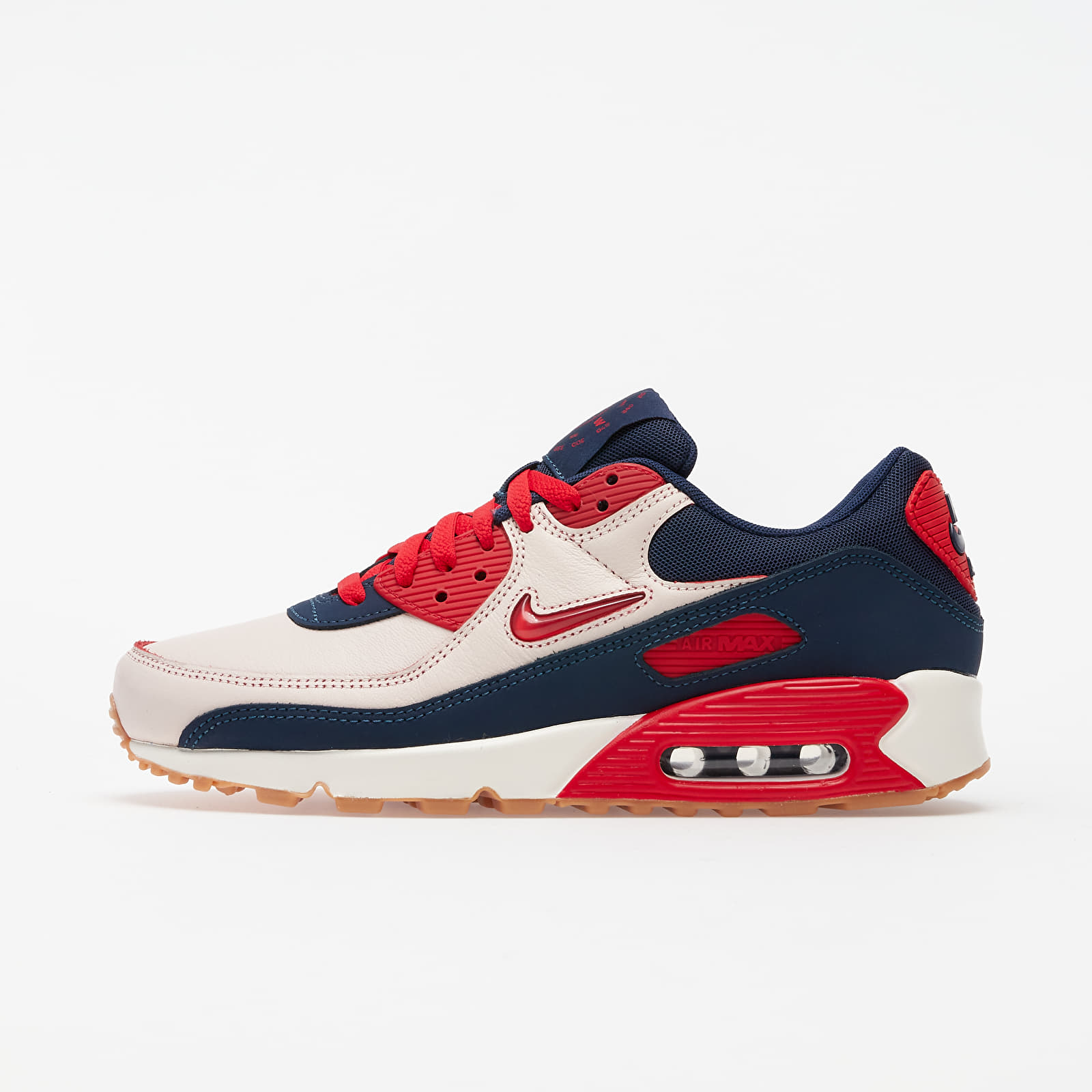 Zapatillas Hombre Nike Air Max 90 Premium Sail/ University Red-Midnight Navy