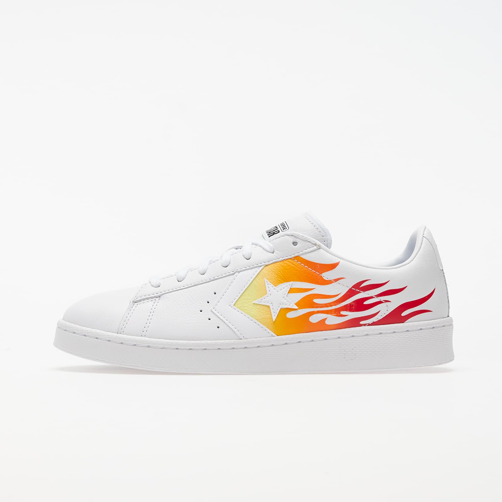 Men's shoes Converse Pro Letaher OX White/ Bold Mandarin/ Enamel Red