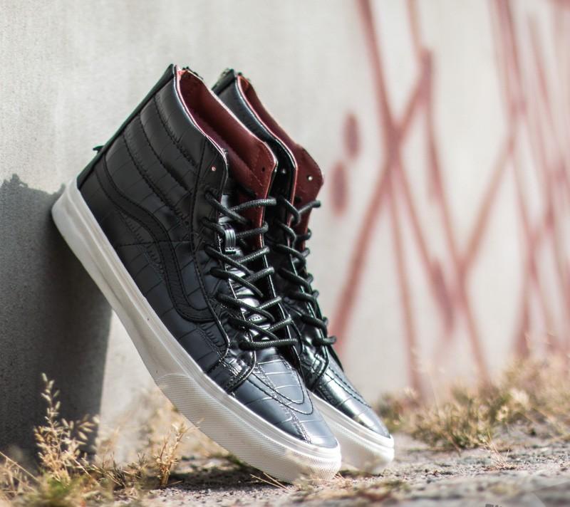 7d39fd4801 Vans Sk8-Hi Zip Croc Leather Black