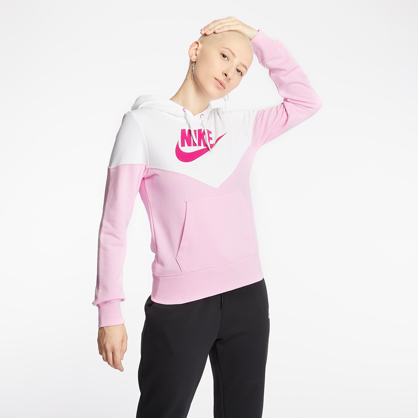 Sweatshirts Nike Sportswear Heritage Hoodie Pink Rise/ White/ Fire Pink