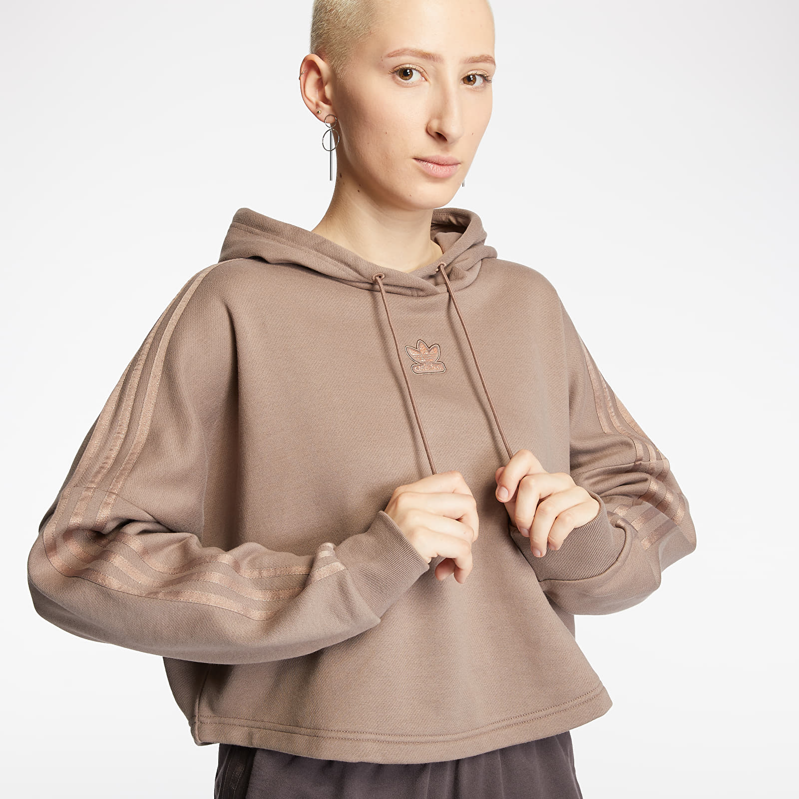 Mikiny a svetry adidas Cropped Hoodie Trace Brown
