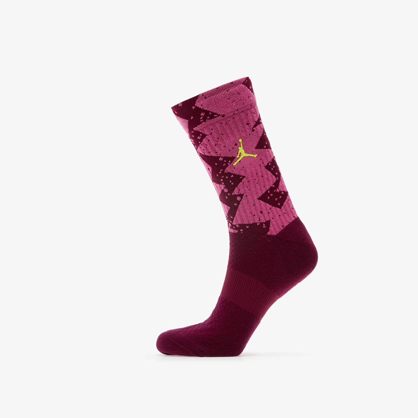 Socks Jordan Legacy Poolside Crew Socks 1-pair Bordeaux/ Cosmic Fuchsia/ Cyber