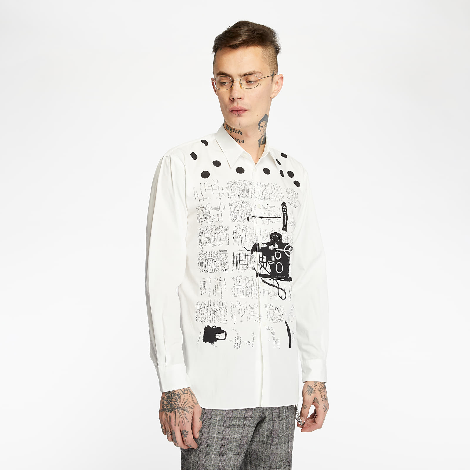 Shirts Comme des Garçons x Jean-Michel Basquiat Long Sleeve Shirt Poplin Print White