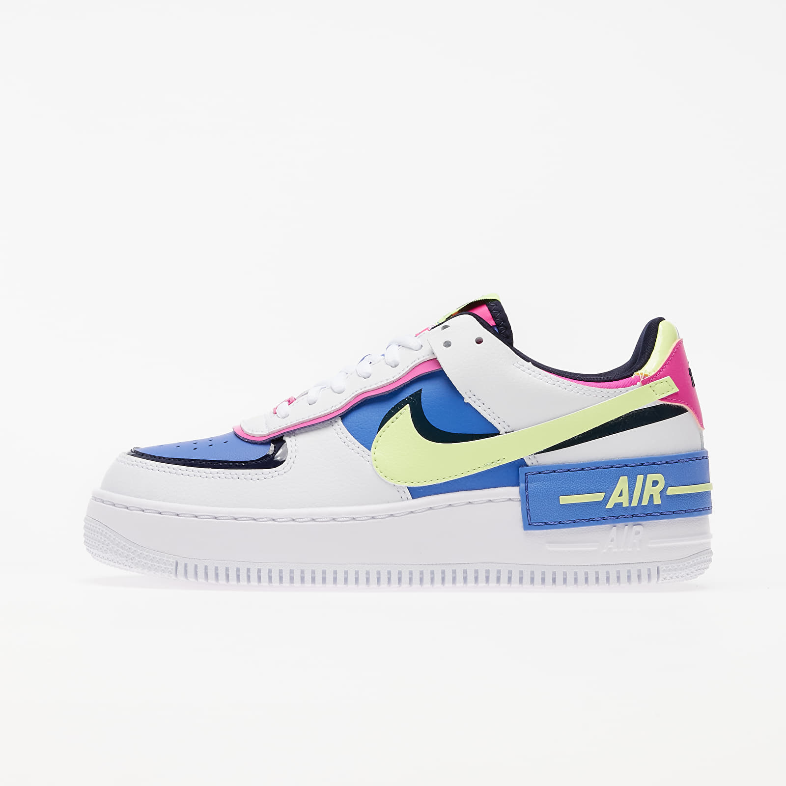 Dámske topánky a tenisky Nike W Air Force 1 Shadow White/ Barely Volt-Sapphire-Fire Pink