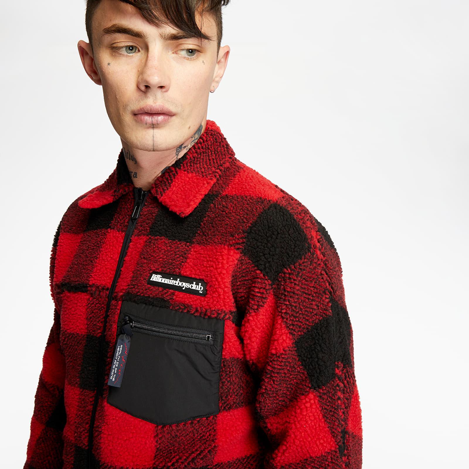 Dzsekik Billionaire Boys Club Fleece Check Zip Shirt Red