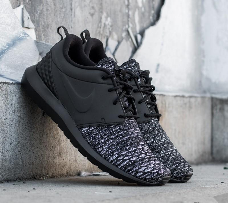 75d1d672b0b9 Nike Roshe NM Flyknit Premium Black  Black- Dark Grey- White ...