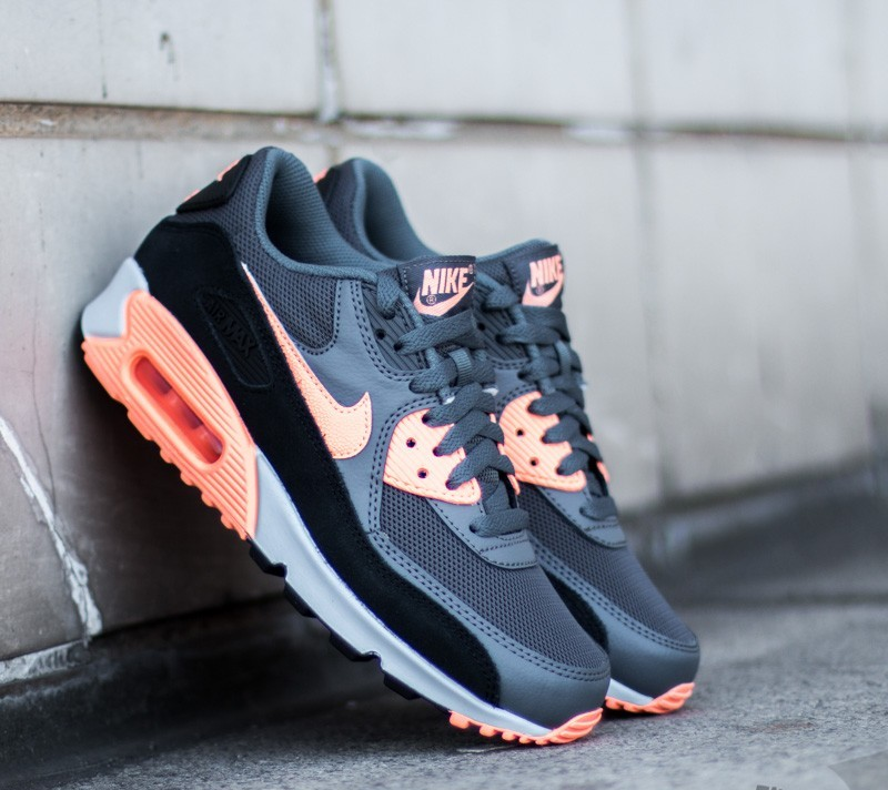 Nike Wmns Air Max 90 Essential Dark Grey  Sunset Glow- Black- Platinum 0e641ae0fb
