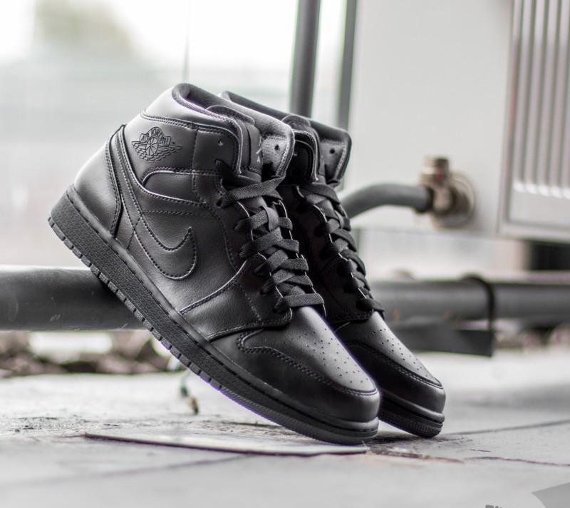 39286811046f Air Jordan 1 Mid Black Black-Dark Grey
