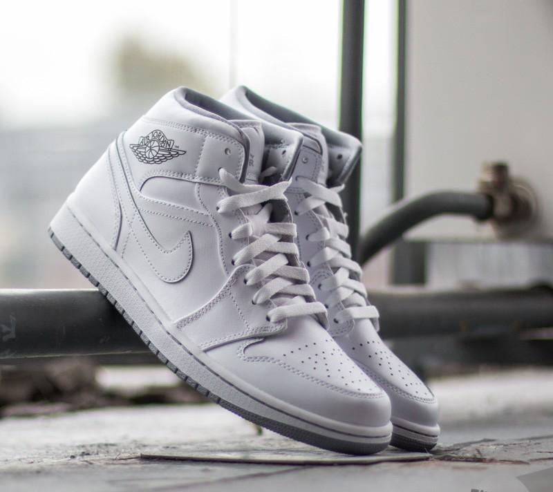 Air Jordan 1 Mid White  White- Wolf Grey  b520a6e3c3