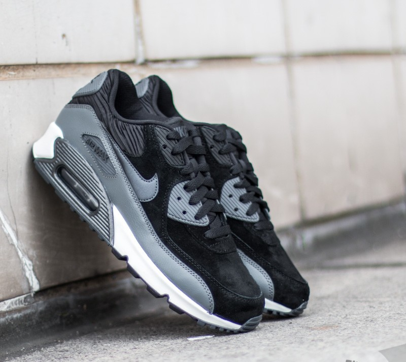 420dba032e52d5 Nike Wmns Air Max 90 Leather Black  Metallic Hematite- Dark Grey ...