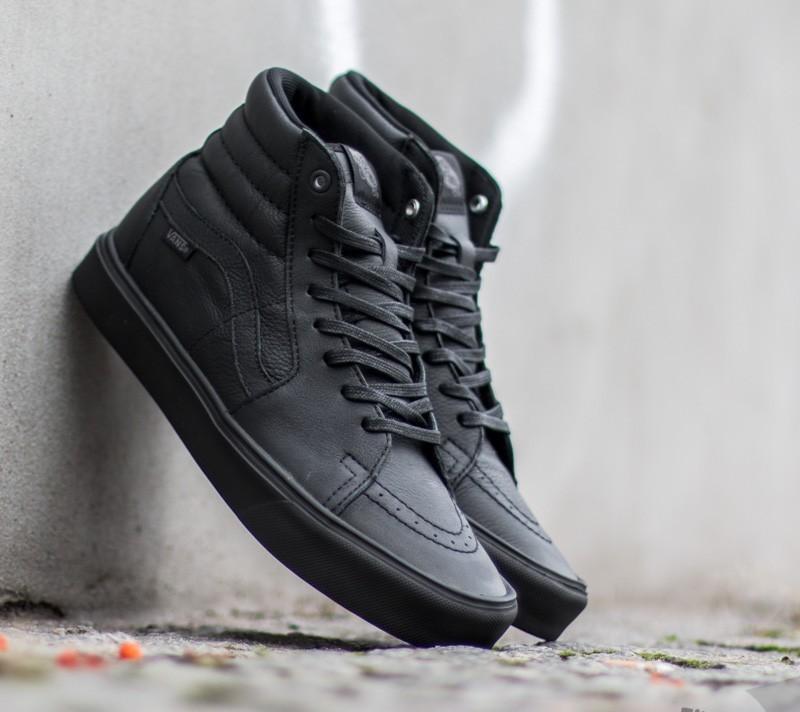 9fe8bf6b7978bc Vans Sk8-Hi Lite Leather Black  Black