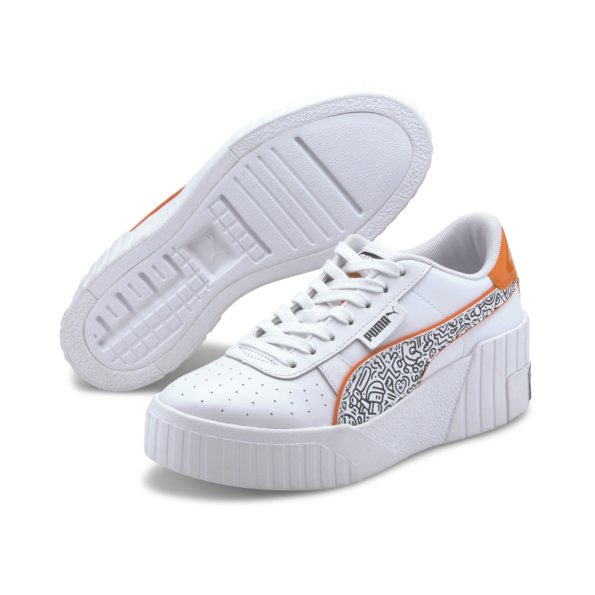 Puma Cali Wedge MR DOODLE Puma White-Black-Dragon Fire
