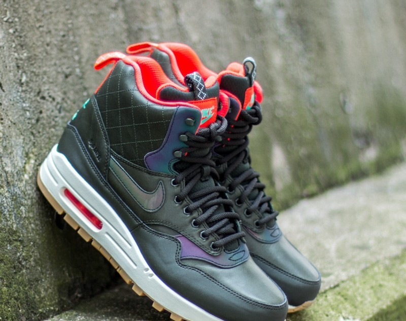 0673c4a874 Nike W Air Max 1 Mid SneakerBoot Reflect Sequoia/ Black- Bright Crimson-  Mint