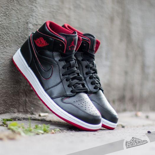 Air Jordan 1 Mid Black  Black-White-Gym Red  890c368d1072