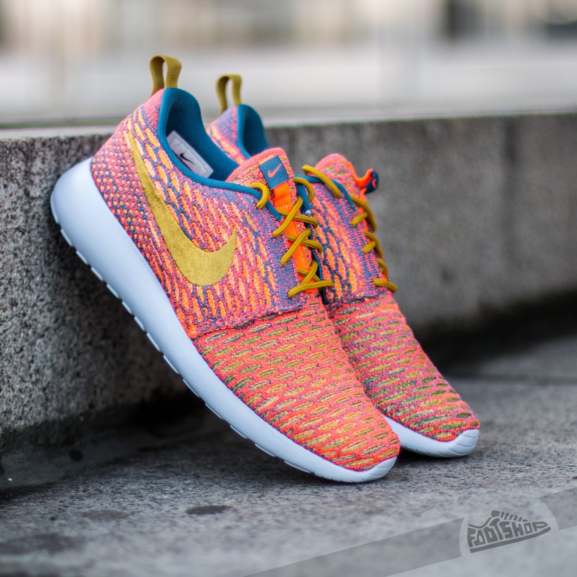 the best attitude 3a140 e34f2 Nike Wmns Roshe One Flyknit Brgd Blue  Dark Citron- Sunset Glow- Hyper