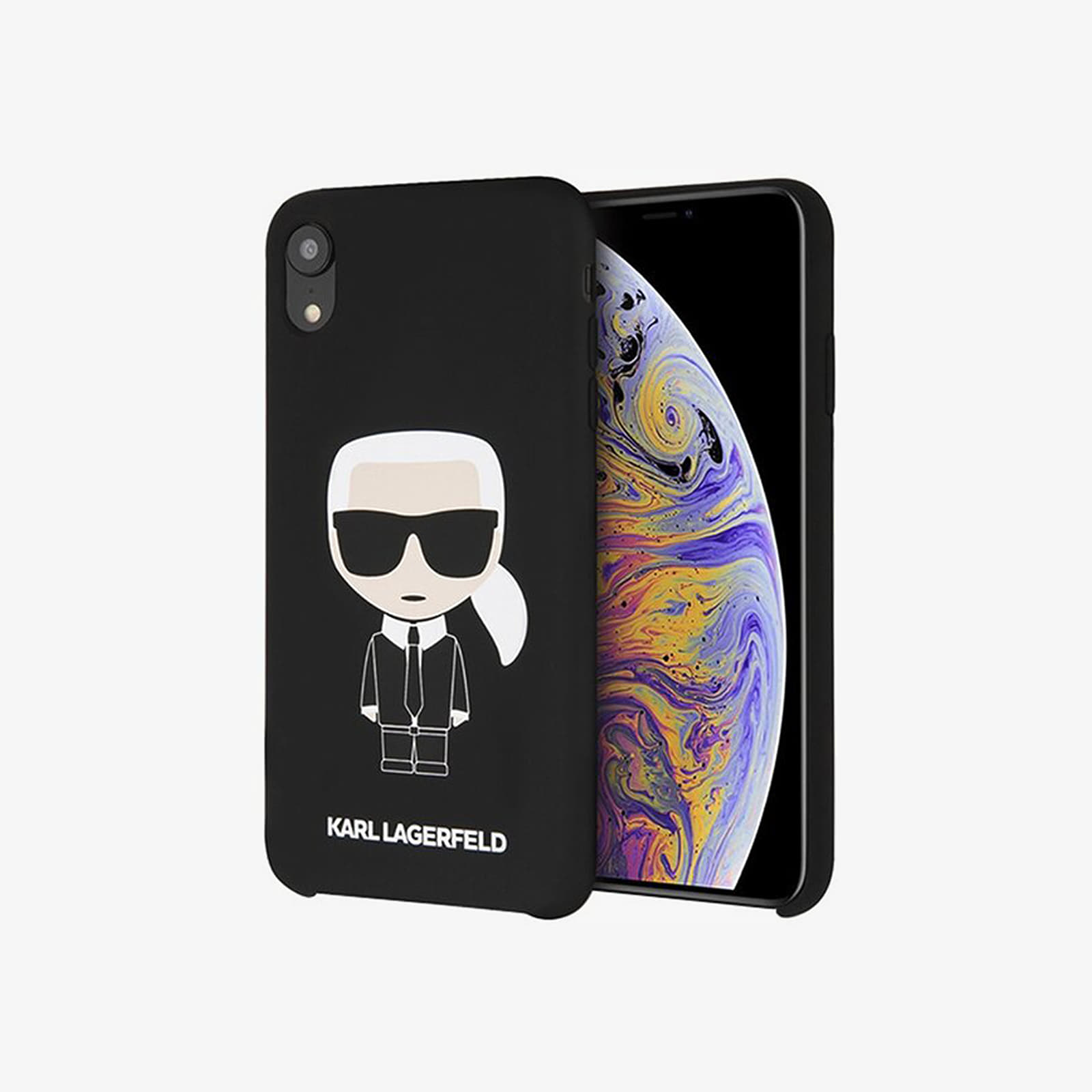Karl Lagerfeld Full Body Iconic Silicone iPhone XR Case Black Universal