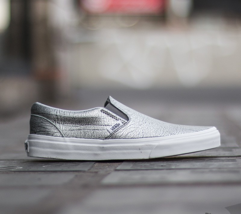 Vans Classic Slip-On Foil Metallic  Silver  True White  239f17c73