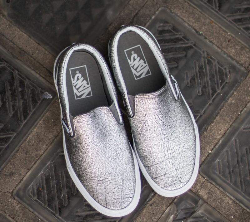 Vans Classic Slip On Foil Metallic Silver True White