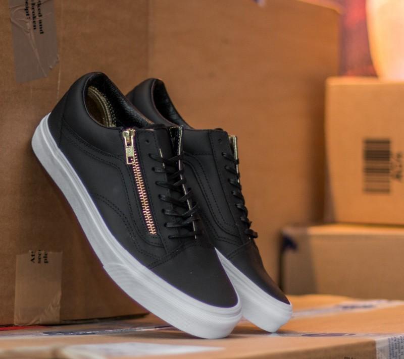 shoes Vans Old Skool Zip Leather Black